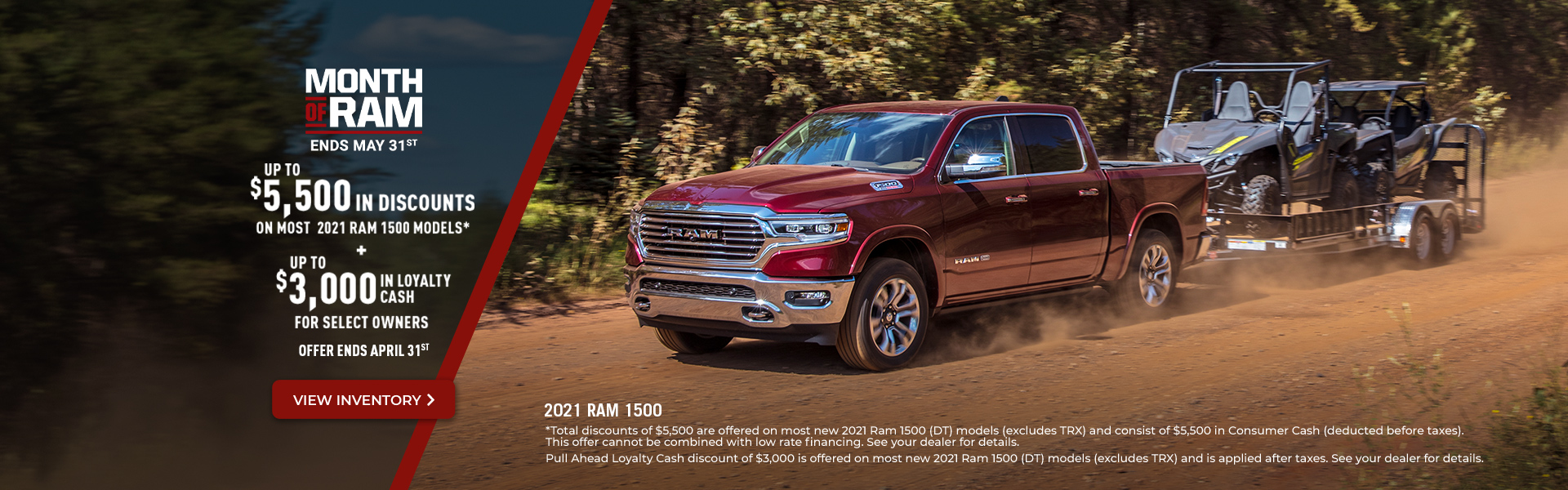 2021 RAM 1500 Promotional Banner